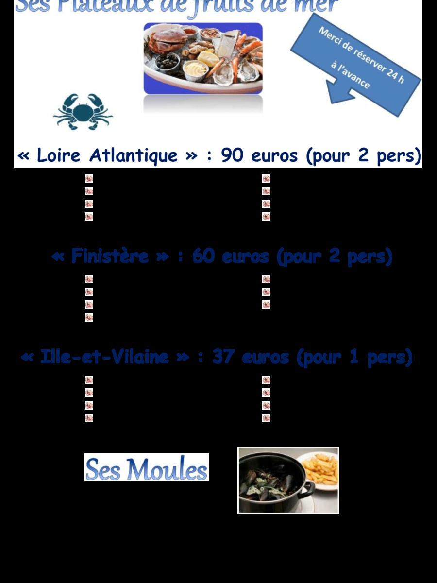 Fruits de mer et Moules